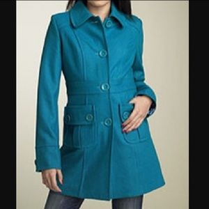 Anthropology blue wool Tulle coat